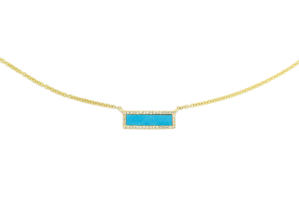 Niya Turquiose Bar & Diamonds Necklace