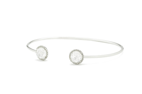Vera White Topaz & Diamond Bangle Bracelet