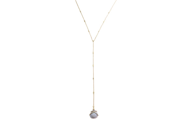 Cross My Heart Diamond & Pearl Lariat