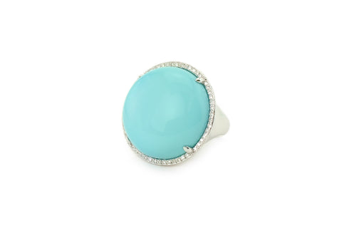 Turquoise Blue & Diamond Ring