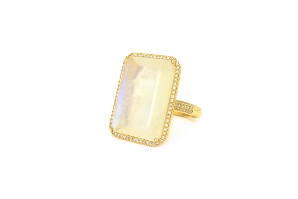 MoonStone Emerald Cut & Diamond Ring
