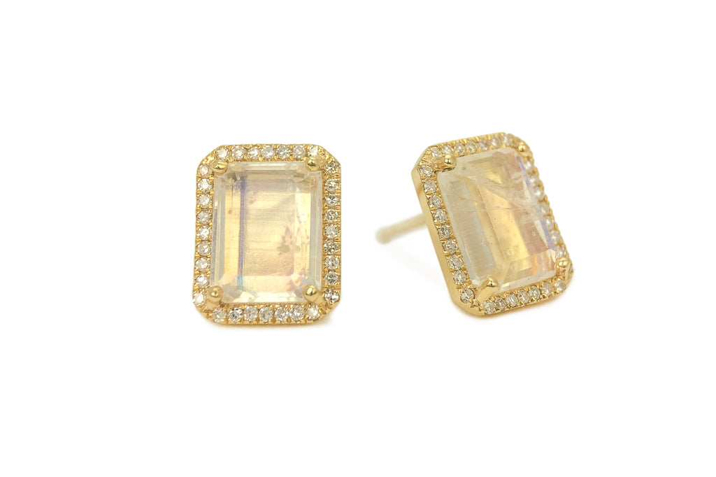 Moonstone Emerald Cut Earrings