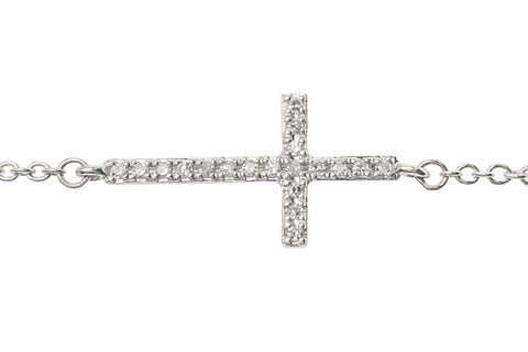 Sideways Cross on Chain Bracelet White Gold