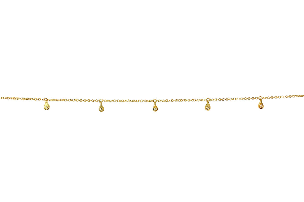 9 Diamond Dangle ANKLET Yellow Gold