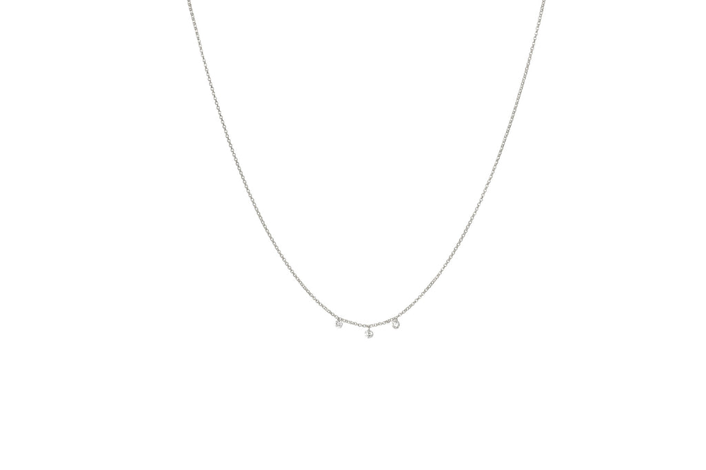 Rain 3 Diamond Drops Necklace White Gold
