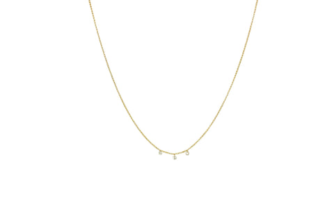 Rain 3 Diamond Drops Necklace Yellow Gold
