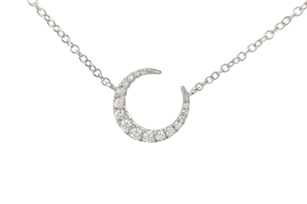 Luna Diamond Crescent Moon & 3 Diamond Chain Necklace White Gold