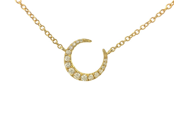 Luna Diamond Crescent Moon & 3 Diamond Chain Necklace Yellow Gold