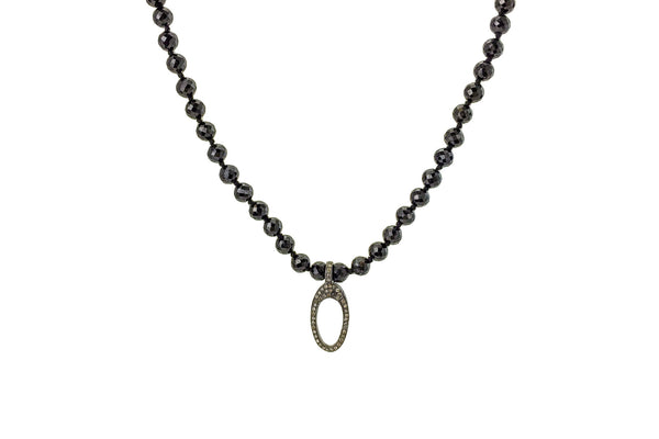 Black Spinel Hand Knotted Bead Necklace Diamond Clasp