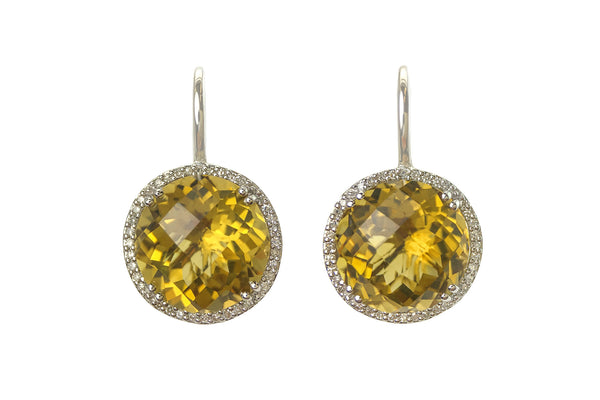 Champagne Quartz Headlight Earrings