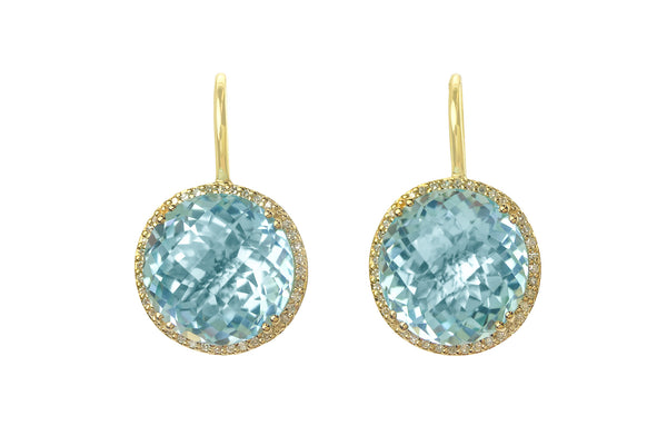 Blue Topaz Headlight Earrings