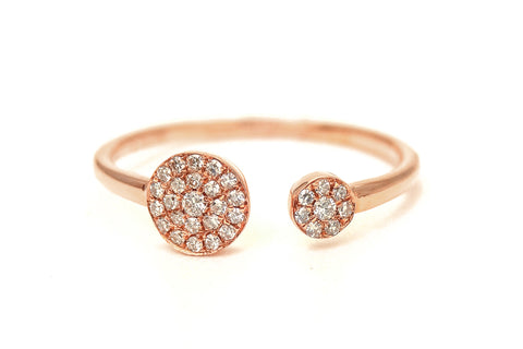 Double Dip Pave Diamond Ring Rose Gold
