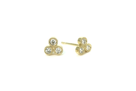 Trio Diamond Mini Earrings Yellow