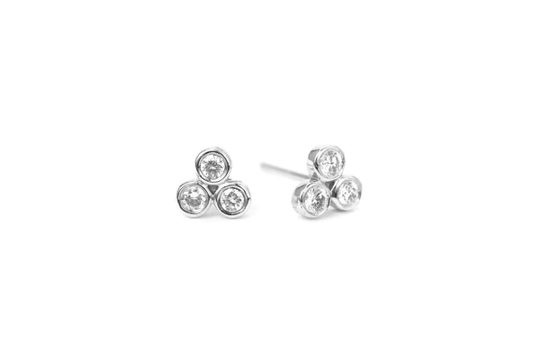 Trio Diamond Mini Earrings White