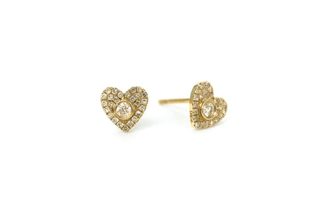 Sweet Heart Mini Diamond Earrings