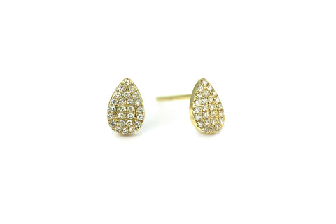 Pave Diamond Mini Teardrop Earrings