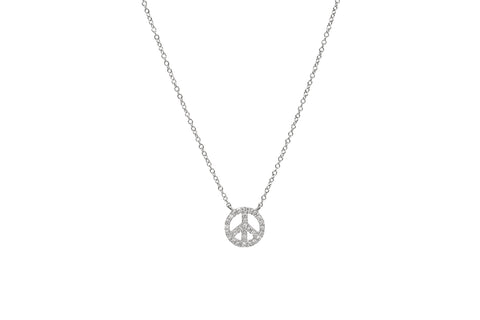 Diamond Peace Sign Necklace White Gold