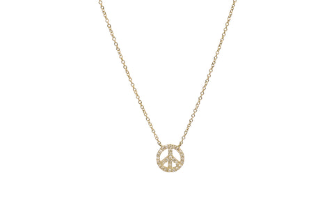 Diamond Peace Sign Necklace Yellow Gold
