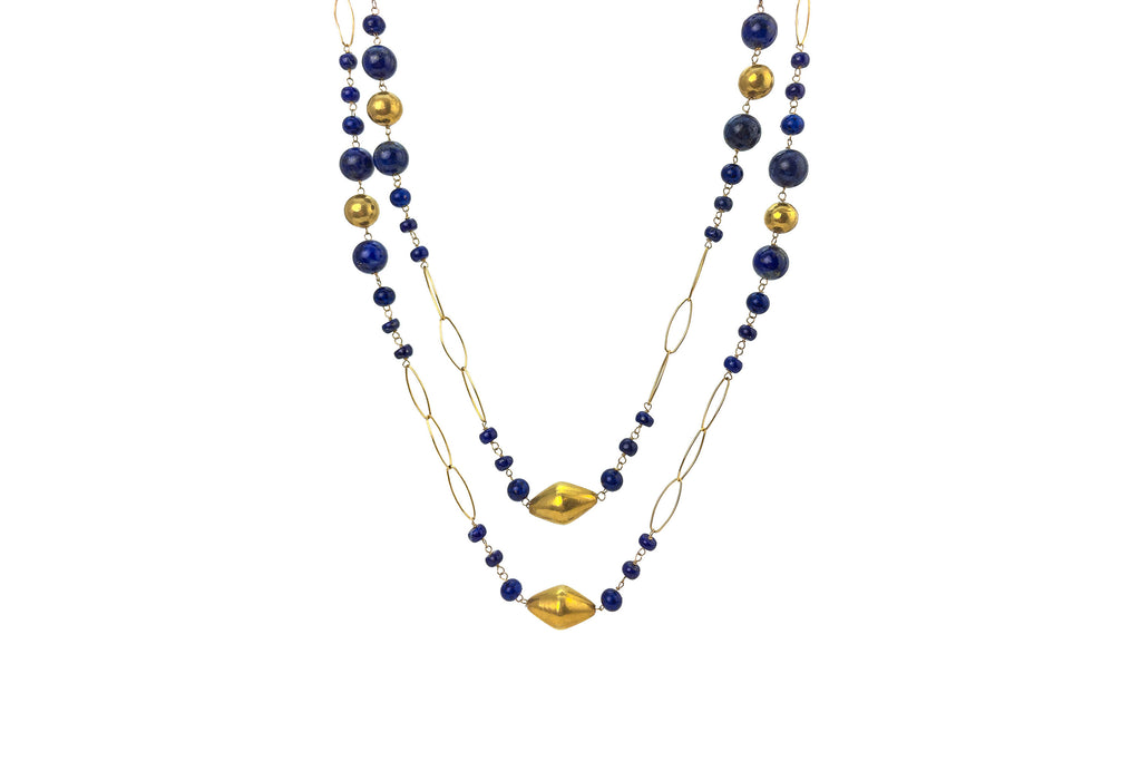 Nan Lapis Bead & Gold Bead Necklace