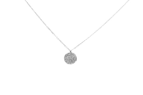 Veronica Diamond Pave Disc Necklace White Gold