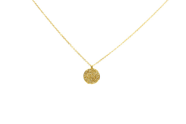 Veronica Diamond Pave Disc Necklace Yellow Gold