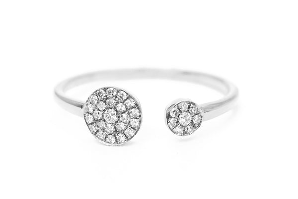 Double Dip Pave Diamond Ring White Gold
