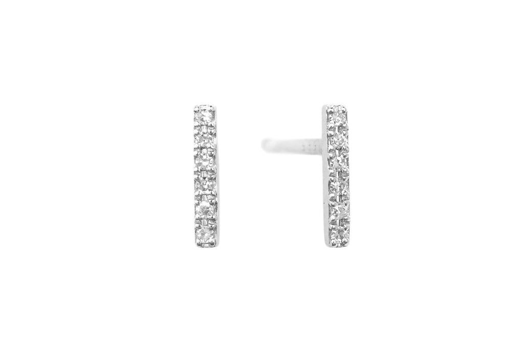 Diamond Bar Stud Earrings White Gold