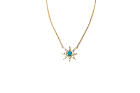 Mini Sunburst with Turquoise Necklace