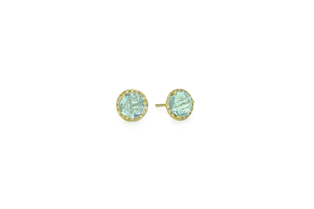Mimi Blue Topaz Earrings Yellow Gold