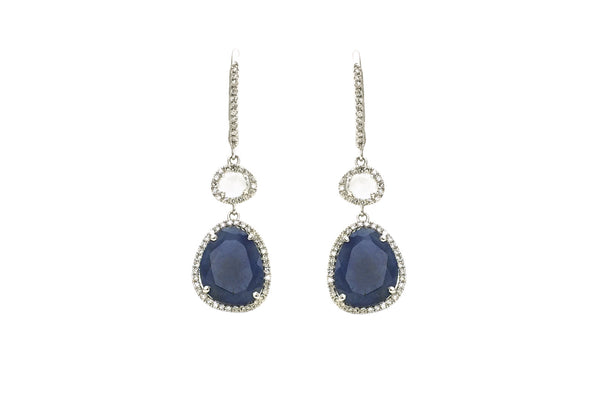 Mae Blue Sapphire,White Topaz & Diamond Earrings