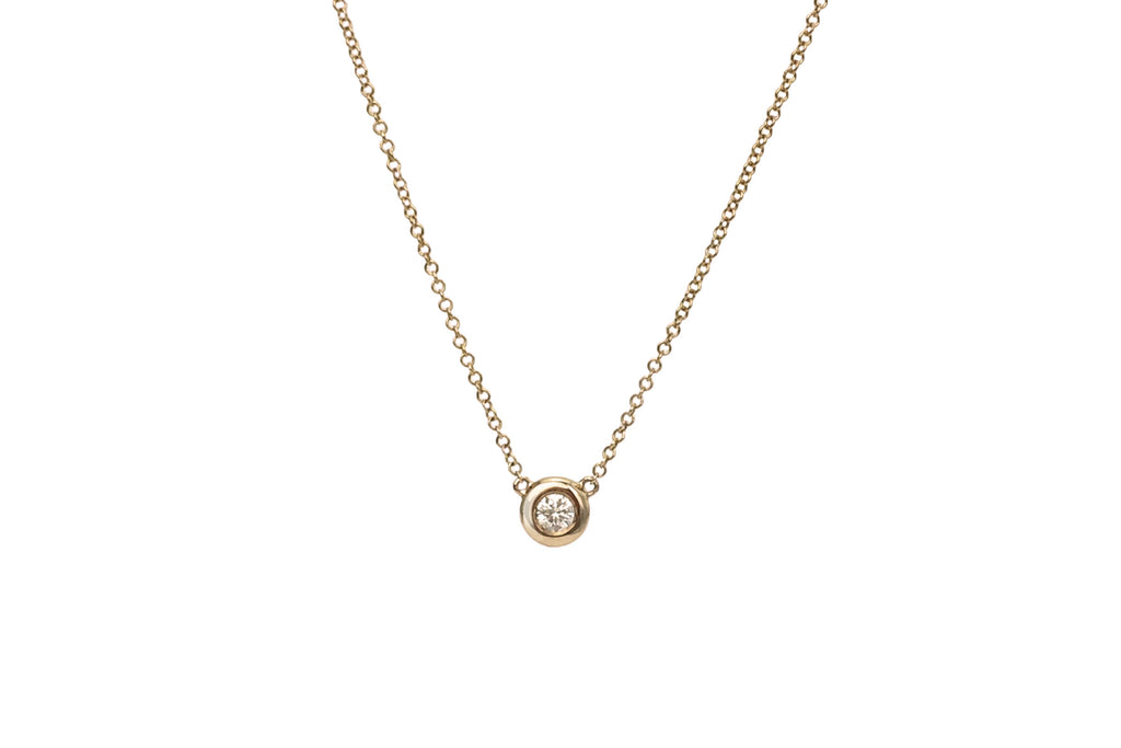 Una Bezel Set Diamond Solitaire Necklace Rose Gold