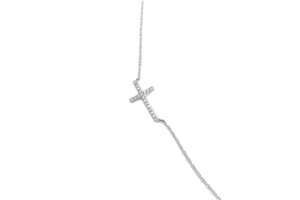 Sideways Cross Necklace Medium White Gold