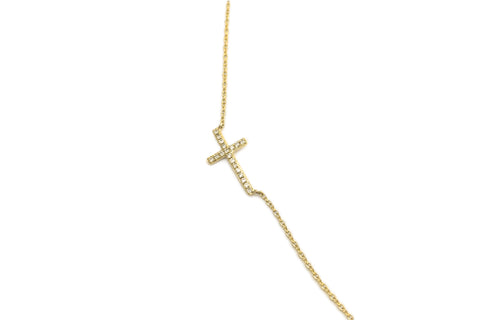 Sideways Cross Necklace Yellow Gold