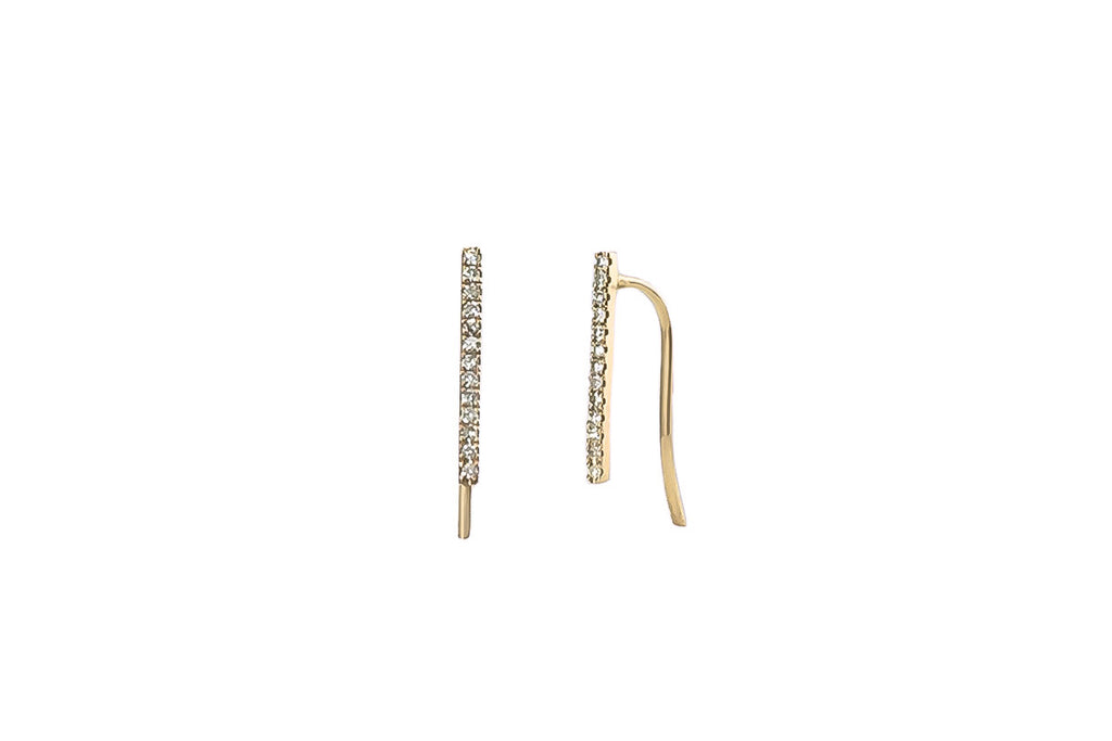 Draw the Line Diamond Yellow Gold Earrings