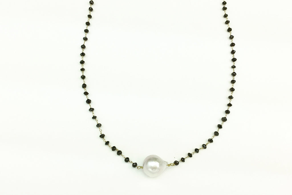 Ono Pearl & Black Diamond Necklace