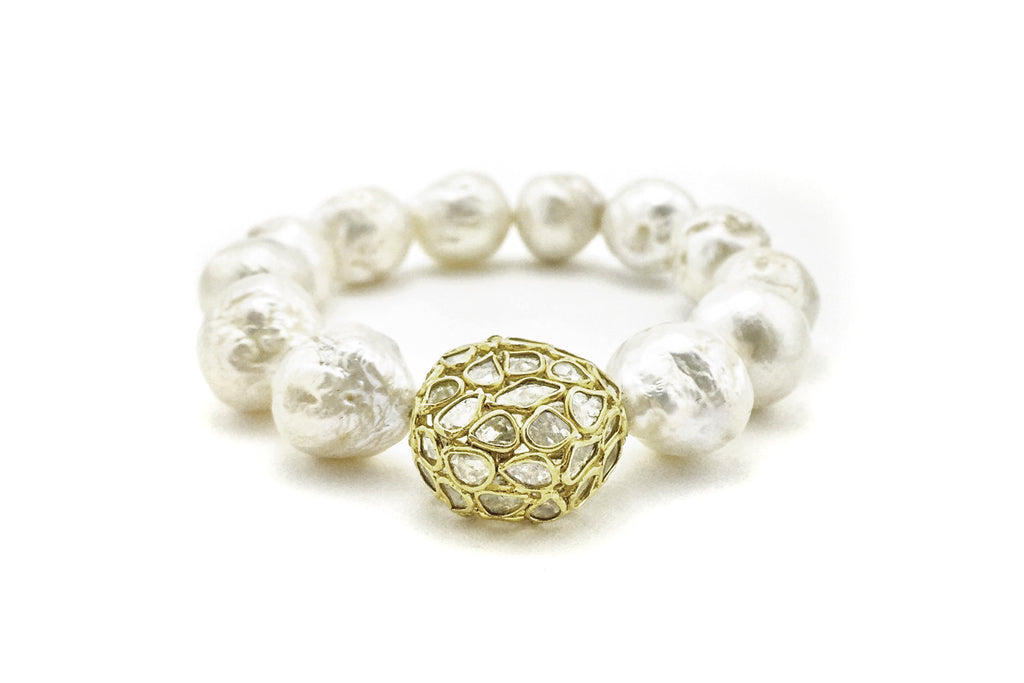 Beba Pearl Bracelet with Diamond Slice Bead