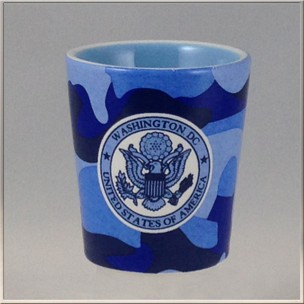 Shot Glass, Blue Camo, DC Emblem