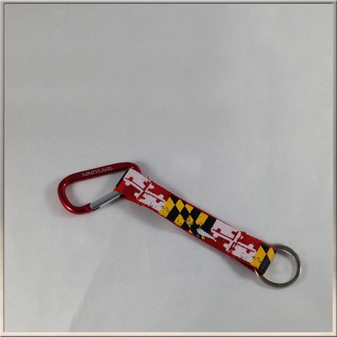 Key Ring, Red Clip, Maryland Flag