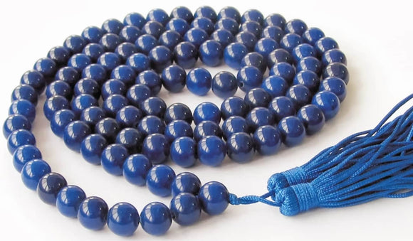 Blue Hakik Agate Mala for Rahu dosh