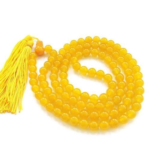 Yellow Hakik Agate mala for brihaspati dosh