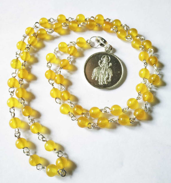 Yellow Agate - Hakik Mala with Silver Brihaspati pendant