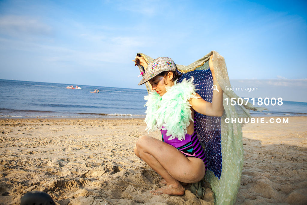 150718008 |  Writer & producer Nessa Norich as beach fairy with scarf. —Gratitude Migration 2015: Summer ... | Team Chuubie