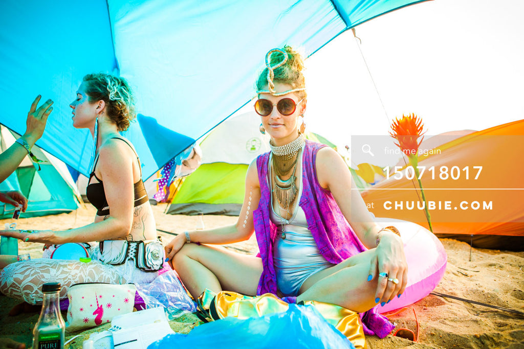 150718017 |  Emily Sause in 70's psychedelic futuristic look against colorful beach camping tents. —Gratitude... | Team Chuubie
