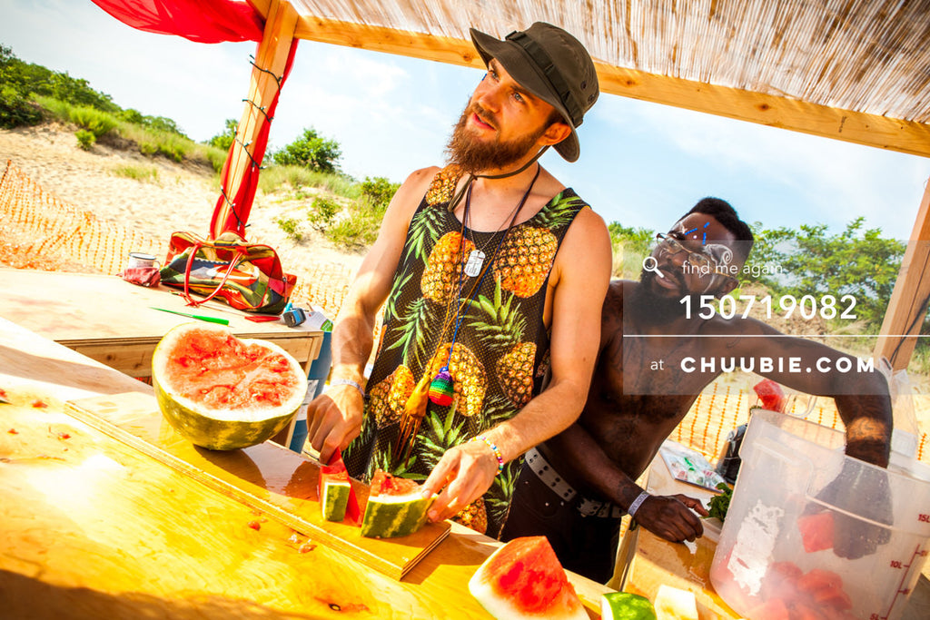 150719082 |  Bearded Brothers sell fresh watermelon at the beach playa cabana. —Gratitude Migration 2015: Sum... | Team Chuubie
