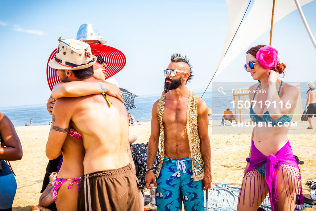 150719116 |  Community feels with beach hugs. —Gratitude Migration 2015: Summer Dream. Morning Gloryville cam... | Team Chuubie