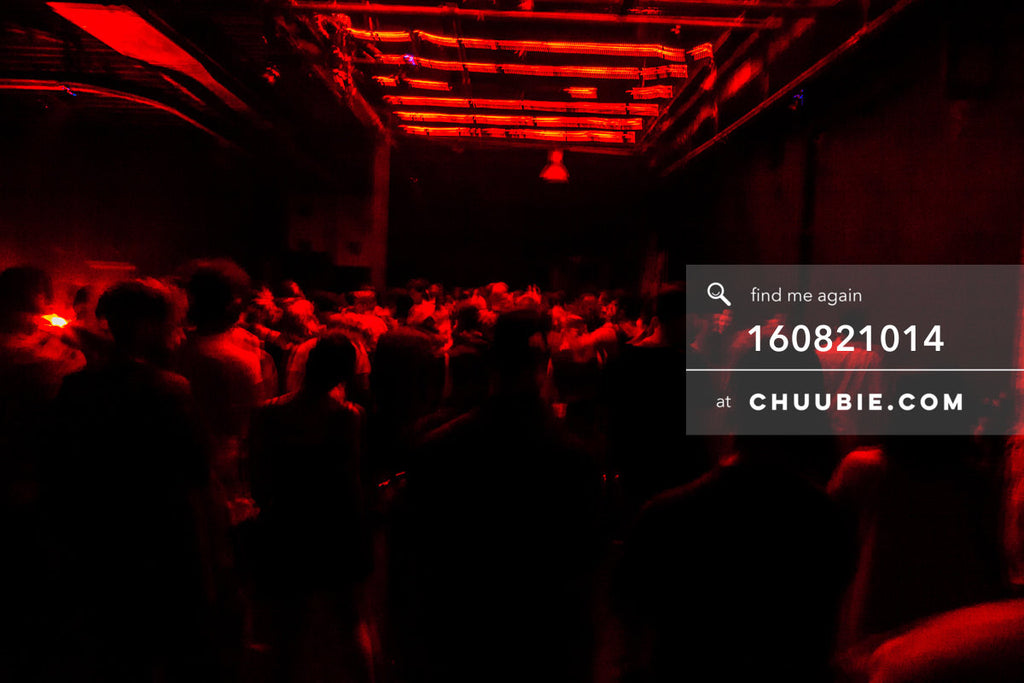 160821014 |  Environmental ambient shot of the industrial warehouse crowd lit by red light's glow. raw. Elect... | Team Chuubie