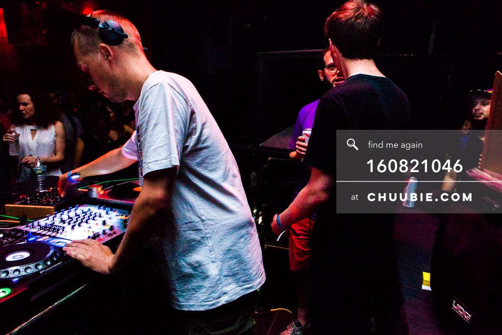 160821046 |  JOY ORBISON behind the decks driving the warehouse dance floor. Matt Sagotksy chatting with Ben ... | Team Chuubie