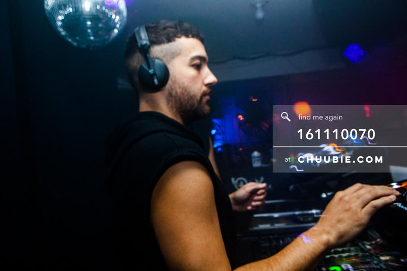 161110070 | DJ Joey Quiñones with headphones behind the decks — at BROMO 1 Year Anniversary with Butched (Joe... | Team Chuubie