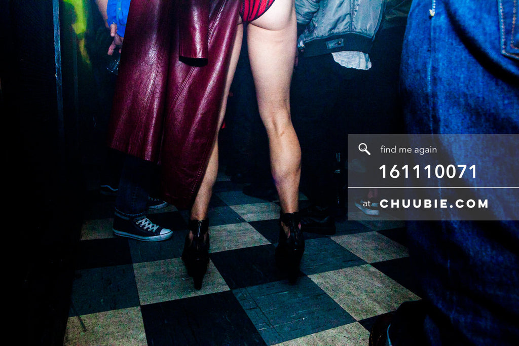 161110071 | Burgundy leather coat, black heels, strong calves, perky bum. Tyler showing off her legs on the d... | Team Chuubie