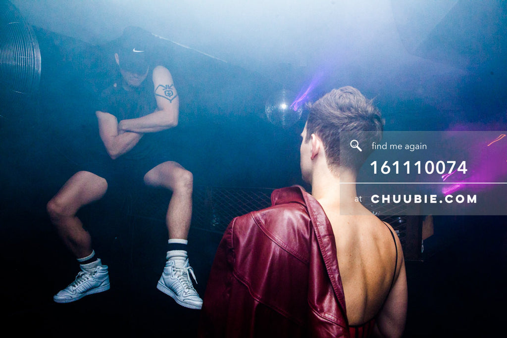 161110074 | Frankie Sharp hovering above the dance floor in fog. swagger. A ghostly Tyler Ashley watches.  — ... | Team Chuubie